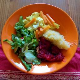 Zweierlei Puree mit Kohlrabi-Möhren-Gemüse